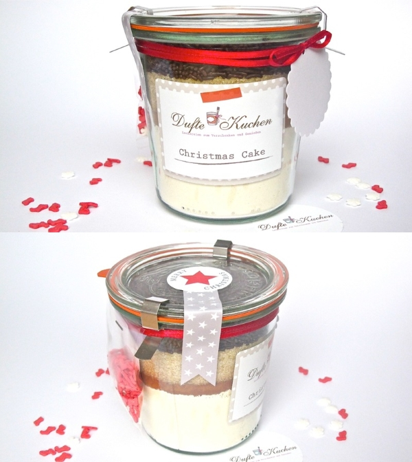 christmas cake backmischung im glas geschenk f r. Black Bedroom Furniture Sets. Home Design Ideas